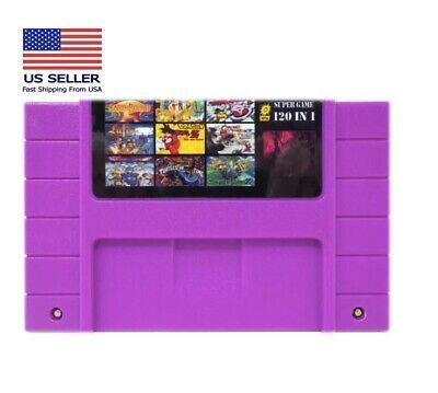 Super 120 in 1 for Nintendo SNES Multi Cart Game Cartridge Battery Save NTSC-U/C