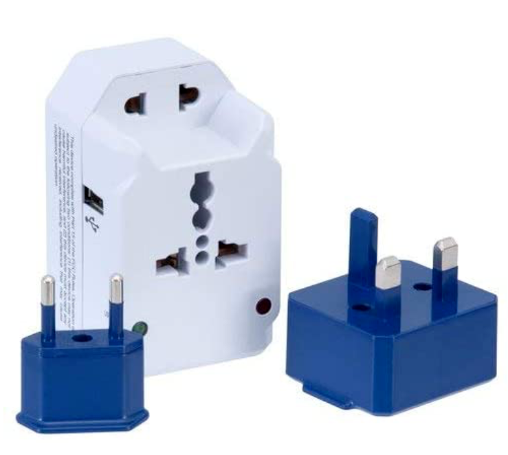 American Tourister All-in-One Adapter Converter Plug Set 3 Outlets and One USB