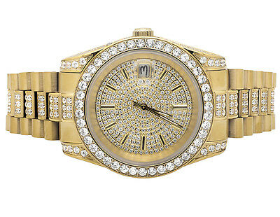 18K Yellow Gold Stainless Steel Simulated Diamond Presidential Watch 41MM PR-01