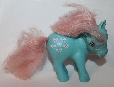 1980's Vintage Hasbro G1 MLP Bow Tie Light Blue  My Little Pony Figure - Light Blue My Little Pony