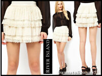 RIVER ISLAND Brand New Cream Lace Rara Skirt size 8 RRP £25