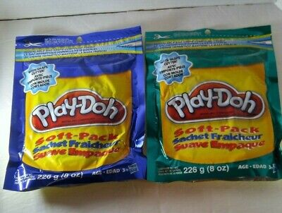 Play-Doh Soft Pack Modelling Clay 8 OZ, 1 Pack Teal Green + 1 Pack Blue With Sha