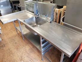 2.45m Corner Single Bowl Sink Taps & Spray Arm