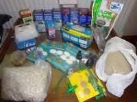 Assorted Fish Aquarium Water Treatments, Food, Filters, Guppy Tank, Sand, Tubing etc