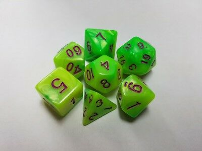 HD Dice Elemental 7 x Polyhedral dice Set Yellow Green with Purple D&D RPG