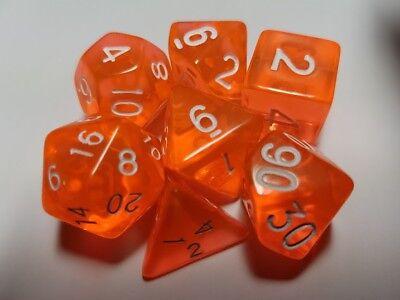 HD Dice Gem 7 x Polyhedral dice Set Orange D&D RPG