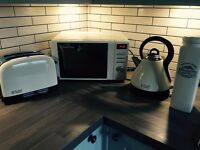 RUSSELL HOBBS cream toaster kettle and microwave set + cream press top Bin. Kitchen appliances