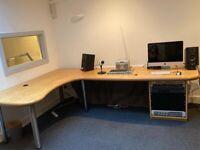 Large bespoke radio studio desk, in oak veneer