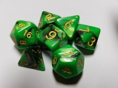 HD Dice Elemental 7 x Polyhedral dice Set Green and Black D&D RPG