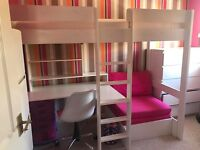 Single bunk bed with desk and sofa bed/chair underneath. comes with new memory foam mattress