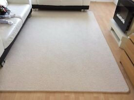 Extra large golden beige heavy spongy soft short pile wool mix rug