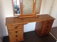 DRESSING TABLE PINE WITH MIRROR ( USED CONDITION )