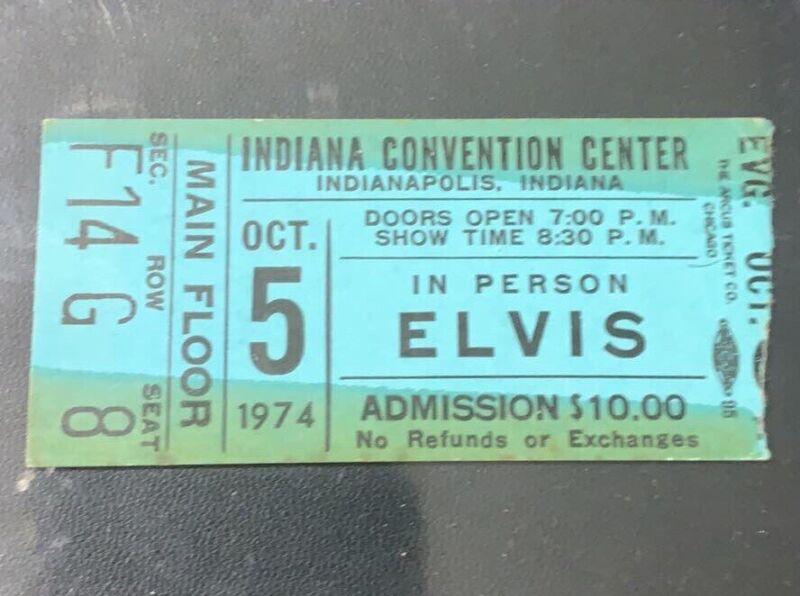MAIN FLOOR ELVIS Concert Ticket Stub Indianapolis October 5, 1974