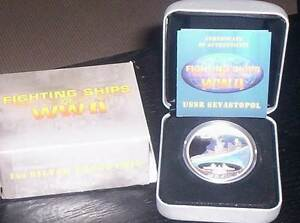 2007 Fighting Ships of WW 2-USSR SEVASTOPOL $1 Silver Proof Coin. Wembley Cambridge Area Preview