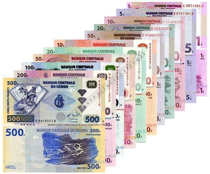 CONGO 11 NOTE SET 1 - 50 CENTIMES 10 - 500 FRANCS 1997-2003 UNC