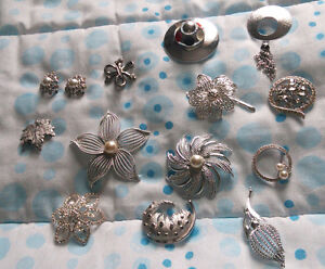 Collection of silver brooches