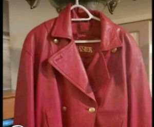 Ladies red Danier Leather coat