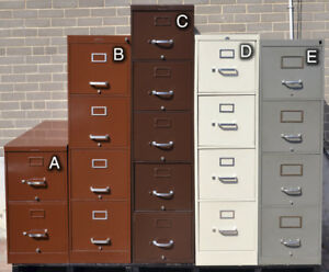 5 filing cabinets - durable steel quality - $30 to $60 each
