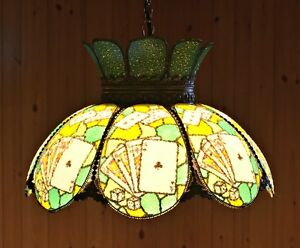Vintage stained glass poker table light pool table lamp bar pub