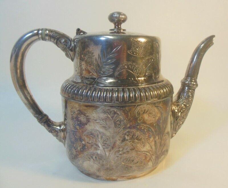 Antique MERIDEN Silver Plate Quadruple Plate TEA COFFEE POT Chased Flowers
