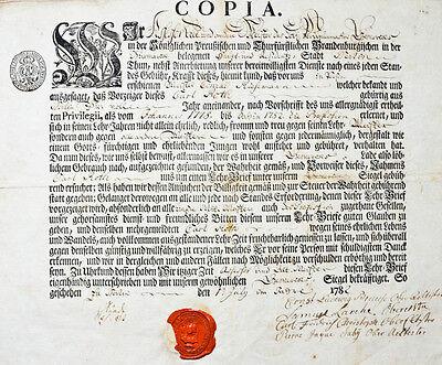 1782 Handwerkskundschaft Gesellenbrief Handwerksbrief Berlin Perrückenmacher