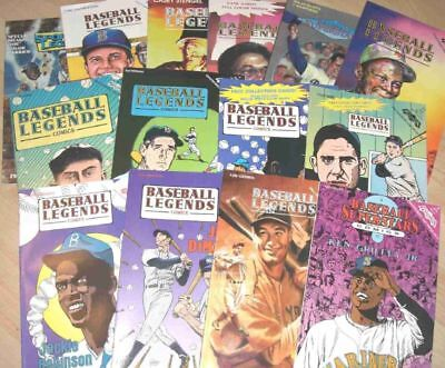 VINTAGE BASEBALL SUPERSTAR COMIC BOOK LOT 12 WILLIAMS GEHRIG ROBINSON NEW COND!!