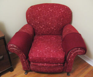 Vintage 1940s Maroon Upholstered Arm Chair