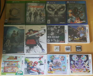 various video games nintendo 3ds, wii, xbox one, PS4