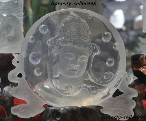 Rare Natural White Crystal Carving Guanyin Kwan-yin Goddess Statue Plate Screens