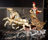 Roman Chariot Riding Two Horses Warrior-General Statue Handpaint