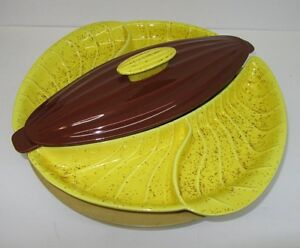 Bright Yellow and Brown Vintage Lazy Susan