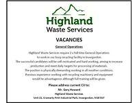 VACANCIES - General Operatives - Highland Waste Services, Invergordon