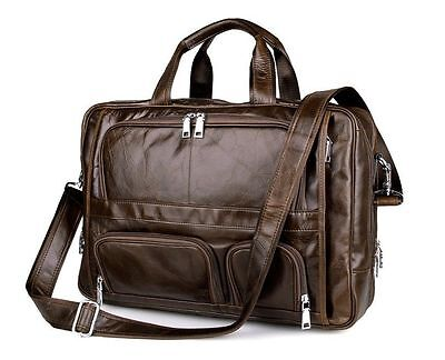 17'' Genuine Leather mens Briefcase Laptop Shoulder Bag Handbag Weekend Travel