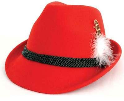 German Hats Oktoberfest (Traditional German Bavarian Oktoberfest Wool RED alpine)