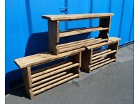 NEW Rustic Reclaimed Shoe Rack Bench Seat Chair 3 and 4 Foot Wood