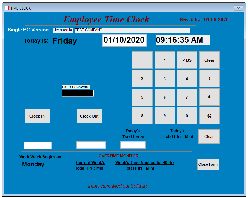 Small Bus Employee Time Clock Software, for 100 Employees! (Windows 7,8 and 10)