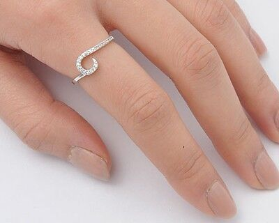 USA Seller Wave Number CZ Ring Sterling Silver 925 Best Price Jewelry - Number Ring