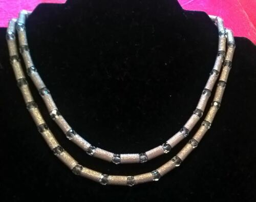Mod Silvery Collar Necklace w/ Glass Beads, Vintage Crown Trifari Jewelry