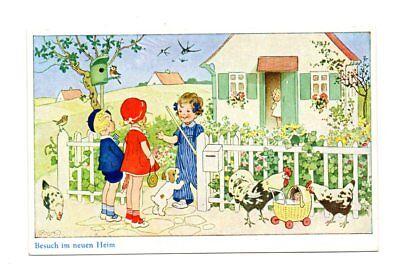 Alte AK Postkarte Fritz Baumgarten Kinder zu Besuch im neuen Heim ...