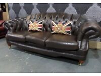 Stunning Chesterfield Thomas Lloyd 3 Seater Sofa in Brown Leather - UK Delivery