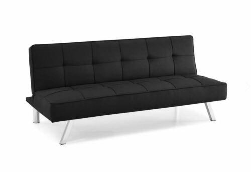 3-Seat Multi-function Upholstery Fabric Sofa Futon Convertible Black Couch