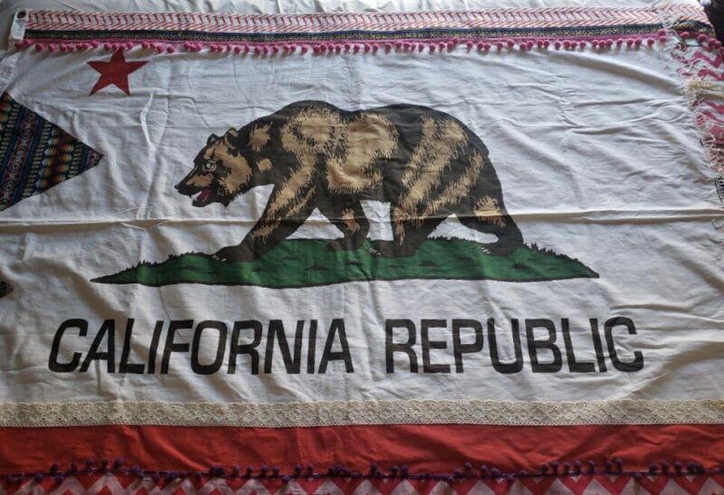 Huge Vintage Embellished California Republic Flag Bohemian Hippie Shabby Chic
