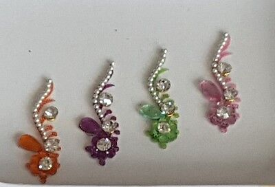 4 swirly bindis, purple, pink, green and orange/silver (code22)