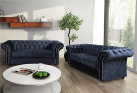 Charly Handmade Chesterfield Fabric Sofa Suite *** FREE DELIVERY***