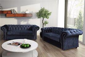 Coral Luxury Handmade Chesterfield Fabric Sofa Suite (3&2/corner)