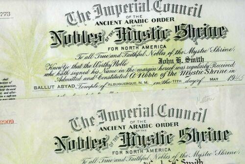 2 Older Nobles Mystic Shrine Certificates-Albuquerque New Mexico  - SMITH Family