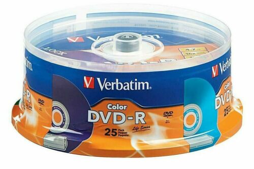 Verbatim Color DVD-R 4.7 GB 16x Speed 25 Pack Spindle - SEALED - FREE SHIPPING