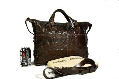 Henry Beguelin Henry Cuir Distressed Italian Chocolate Leather XL Messenger Bag