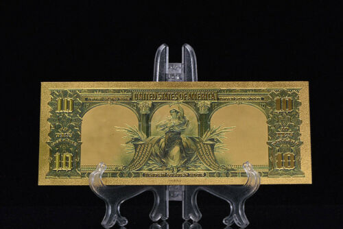 MAKE OFFER GEM>PRECISE DETAIL~GOLD~1901 UNC. $10 DOLLAR BISON Rep*Banknote~ttt