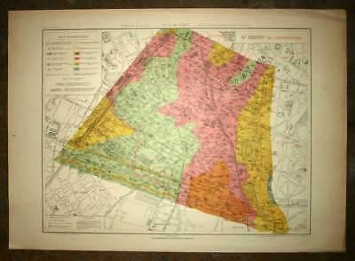 Plan antique card location of the 14eme, XIV district de Paris 1924